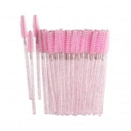 Pink Glitter Eyelash Extension Brushes 50 pcs